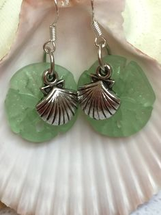 Sea glass sand dollar earrings~ green beach glass earring-cultured sea glass w/shell charm-sterling silver glass earrings-recycled glass