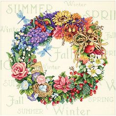 "Wreath of All Seasons Counted Cross-Stitch Kit, 14"" x 14"""
