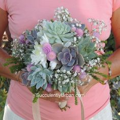 "Once you see a bouquet of succulents it's easy to say """"I do"""". Whether it's all succulents or succulents with mixed flowers it'll be a bouquet to remember. Wedding Flower Guide, Flower Bouquet Wedding, Wedding Ideas, Budget Wedding, Diy Wedding, Dream Wedding, Wedding Inspiration, Succulent Centerpieces, Succulent Bouquet"