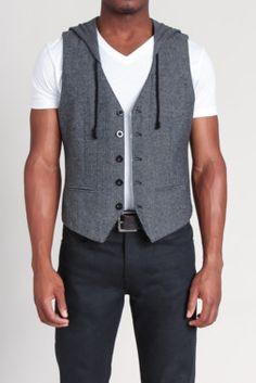 Herringbone Knit Hooded Vest. want!