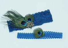 2 PC Navy Blue Stretch Lace Bridal Garter by DESIGNERSHINDIGS, $26.00