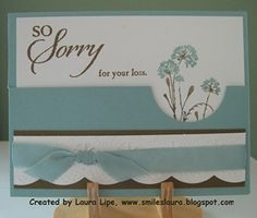 """I folded the cardstock in half (4.25"""" x 11"""" to make it 4.25"""" x 5.5"""" ).  Cut 1-1/2"""" off the top of it.  I used the 1-3/4"""" circle punch to snip out a half-circle.   So Sorry set.      I used the Large Scallop die and the Delicate Designs embossing folder to cut the white which I attached to Suede, and then put a Baja Breeze ribbon around it."""