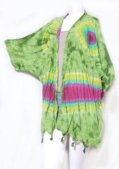 Hippie Boho Fringe Tie Dye Bead Kimono Kaftan Tent Tunic Cover Up Cardigan Green   eBay