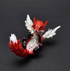 Fox Skulptur Fuchs Figur geflügelte Fuchs OOAK von MyOwnDragon