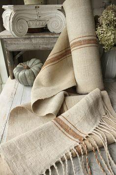 Gorgeous antique homespun bolt ~ RARE toffee striped linen ~ from The Textile Trunk ~  www.textiletrunk.com