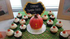 Amy's Crazy Cakes - Pumpkin Cake with pumpkin spice cupcakes as pumpkin patch