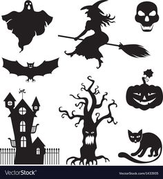 Halloween silhouette with witches vector Retro Halloween, Halloween Fotos, Halloween Signs, Halloween Cat, Halloween Decorations, Halloween Cookies, Halloween 2018, Halloween Clipart Free, Halloween Vector