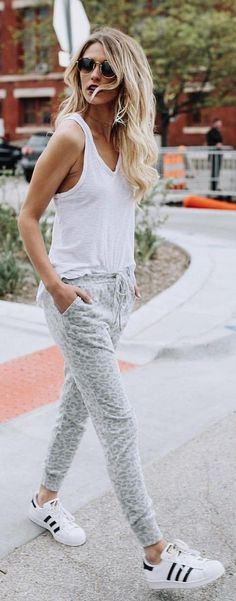 White Tank + Printed Skinny Pants + White Adidas Sneakers