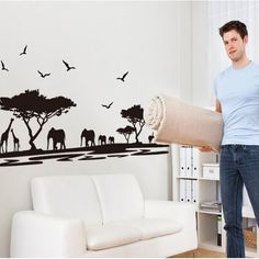 Elephant Butterflies Wall Sticker Vinyl Decal Animal Safari - Wall decals animalsafrican savannah wall sticker decoration great trees with
