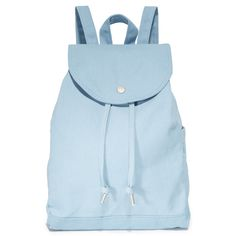 BAGGU Drawstring Backpack ($42) ❤ liked on Polyvore featuring bags, backpacks, washed blue, draw string bag, blue backpacks, canvas knapsack, baggu daypack and canvas backpacks
