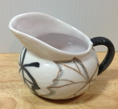 Ernestine Salerno Italy VINTAGE Italian Art Pottery Fall Leaves Creamer Signed $39.99