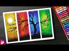How to Draw Four Season Scenery drawing with oil pastels for beginners