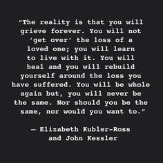 Elizabeth Kubler-Ross & John Kessler. Applies to the entire spectrum of grief deriving from loss of anyone, living or dead, & anything you've invested your self in.