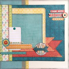 Dream Big - This colorful layout is perfect for a boy or girl - it was made with the My Minds Eye Collectable line. Simply slip a 4x5 photo under the journal card. DaringDezinz Etsy shop by Tamara Jensen