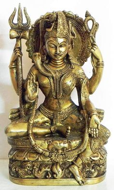 Ardhanarishvara (Brass) Ardhanarishvara form of Lord Shiva. Shiva is sometimes represented as half man, half woman. His figure is split half way down the body, one half showing his body and the second half that of Parvati's. Indian bronze statue.