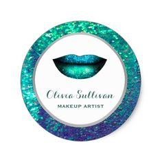 mermaid lips on faux sequin classic round sticker - faux gifts style sample design cyo