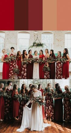13 Mismatched Bridesmaids Dress Color Palettes to Use Throughout Your Wedding This bridesmaid color palette is romantically red Christmas Bridesmaid Dresses, Mismatched Bridesmaid Dresses, Bridesmaid Dress Colors, Red Wedding Dresses, Wedding Bridesmaids, Wedding Colors, Floral Bridesmaids, Bridesmaid Gowns, Wedding Vows
