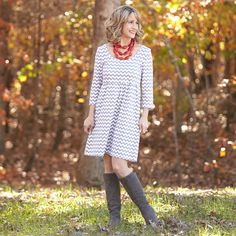Ladies Gray Chevron Knit Olivia Dress