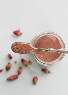 DIY Rose & Chamomile Facial Scrub Recipe and Facial Steam (instead of a steam, I prefer soaking a towel in the tea and using it as compress, pressing the warm tea-soaked towel to my skin for a few minutes, re-soaking when the towel cools)