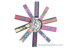 Jump on the trend with our new chevron patterned key chain. You pick your own belt color, monogram color, and initial! The belt is the thicker background that the ribbon lays over. Chevron key chains include a lowercase block type initial. Please be sure to fill out all the drop down boxes below. Shown in Hot Pink Belt with Chevron Hot Pink and White Ribbonwith a Turquoise initial in K; Black Belt with Chevron Black and White Ribbon with a Hot Pink initial in ...