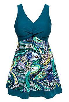 Wantdo Women's Slimming Modest Swimdress Vintage Peacock One Piece Swimwear