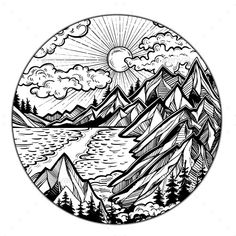 Round artwork with Wilderness landscape scene with a lake, road, pine forest and mountains. Adventure artwork for travel and wanderlust tattoo. Pencil Art Drawings, Art Drawings Sketches, Lake Tattoo, Mountain Drawing, Mountain Sketch, Landscape Tattoo, Geometric Tattoo Landscape, Geometric Mountain Tattoo, Mountain Tattoos