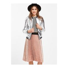 SheIn(sheinside) Metallic Silver Faux Leather Striped Trim Bomber... ($24) ❤ liked on Polyvore featuring outerwear, jackets, silver, collar jacket, silver metallic jacket, white zipper jacket, white bomber jacket and striped bomber jacket