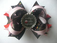 Daddy's Little Cupcake Bow by AbraBOWdana on Etsy, $10.00