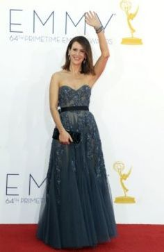Sarah Paulson arrives at the Primetime Emmy Awards at the Nokia Theatre on Sunday, Sept. in Los Angeles. (Photo by Matt Sayles/Invision/AP) Brian Atwood, Red Carpet Dresses, Blue Dresses, Long Dresses, Silver Evening Gowns, Red Carpet Looks, Red Carpet Fashion, Dress To Impress, Strapless Dress Formal