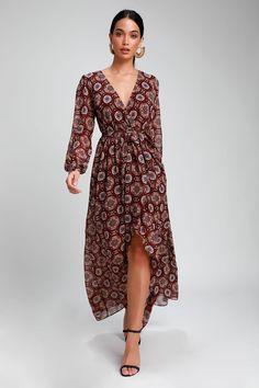 5cf990c5b12 Art and Soul Burgundy Multi Print Long Sleeve High-Low Dress Fancy Shoes