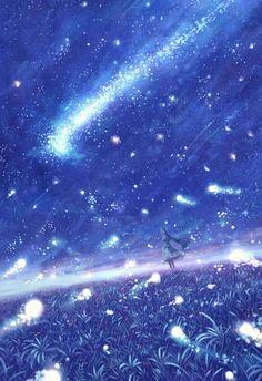 Anime scenery by Sakimori Sky Anime, Anime Galaxy, Galaxy Art, Anime Scenery Wallpaper, Galaxy Wallpaper, Wallpaper Backgrounds, Fantasy Art Landscapes, Fantasy Landscape, Beautiful Landscape Wallpaper