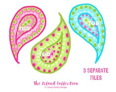 Preppy Paisley Clip Art - Original Art download, preppy clip art, paisley clip art, Tracey Gurley Designs, The Island Collection, set of 3 by TraceyGurleyDesigns on Etsy