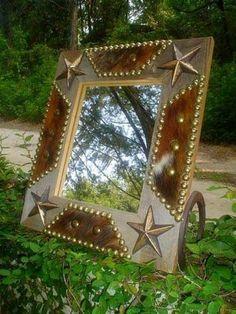 Western Cowboy Cowhide BARN WOOD Dresser Mantle Mirror   Western Decor by Signature Cowboy