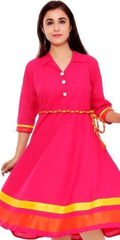 ebb07b48481 Bright Pink And Yellow Cotton Kurti. Indian Tunic Tops, Kurti Collection,  Bright Pink