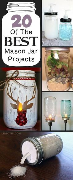 The 20 BEST easy mason jar crafts and ideas! DIY mason jar crafts and ideas for Christmas, holidays, gifts, home decor and more! Kids, adults and teens love these homemade projects! Listotic.com