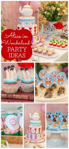 An Alice in Wonderland girl birthday party with a gorgeous cake, cupcakes and decorations! See more party planning ideas at CatchMyParty.com!