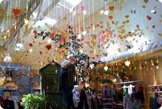 Fabulous idea with hanging leaves that was in an Anthropologie store