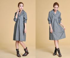 Free Style Lovely Wide Collar Dress with Pleats/ Any Size/ 30 Colors Te leuk
