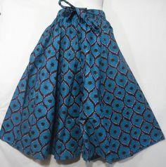 African Wax Fabric Skirt Elastic Waist Maxi Skirt Ankara Wax Long Skirt Women Black History Month Party Wide Flared Skirt Blue Purple P 50 by dashikicaftan11 on Etsy
