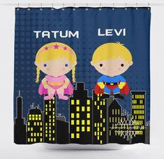 Super hero Shower Curtain  Superheroes Silbling by PAMPERYOURSTYLE
