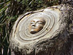 Sculptor Keith Jennings carves wise faces into trees, revealing each wooden tower's inner spirit.