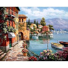 Cheap diy painting, Buy Quality painting diy directly from China harbor paintings Suppliers: CHENISTORY Romantic Harbor DIY Painting By Numbers Landscape Canvas Painting Home Decor For Living Room Wall Art Picture Canvas Painting Landscape, Oil Painting On Canvas, Diy Painting, Painting Clouds, Painting Flowers, Canvas Paintings, Belle Image Nature, Images D'art, Color By Numbers