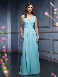 Blue Chiffon Bridesmaid Dresses, Long Chiffon Bridesmaid Dresses