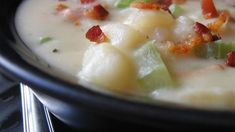 "Absolutely Ultimate Potato Soup I ""This was by far one of the best Potato Soup recipes I've ever prepared! It is a bit involved and time consuming, but it was sooo worth it! Soup Recipes, Cooking Recipes, Healthy Recipes, Celery Recipes, Recipies, Cooking Bacon, Healthy Soup, Chili Recipes, Cooking Ideas"