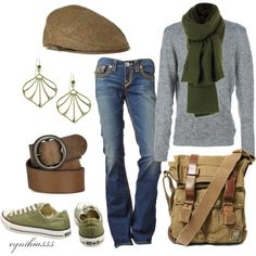 woodsy casual : olives + browns + the basic grayshirt&jeans (by cynthia335 on Polyvore)