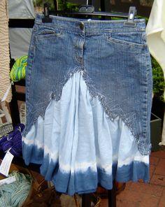 Reincarnated Designer Denim Skirt in Shades of Pale Blue to Indigo