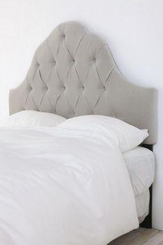 Velvet Tufted Headboard - Light Grey