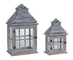 Set de 2 faroles de metal y madera - gris