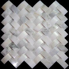 carrara white 3d herringbone tile for fireplace surround