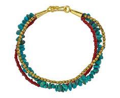 Turquoise and Carnelian Multi-Strand Bracelet